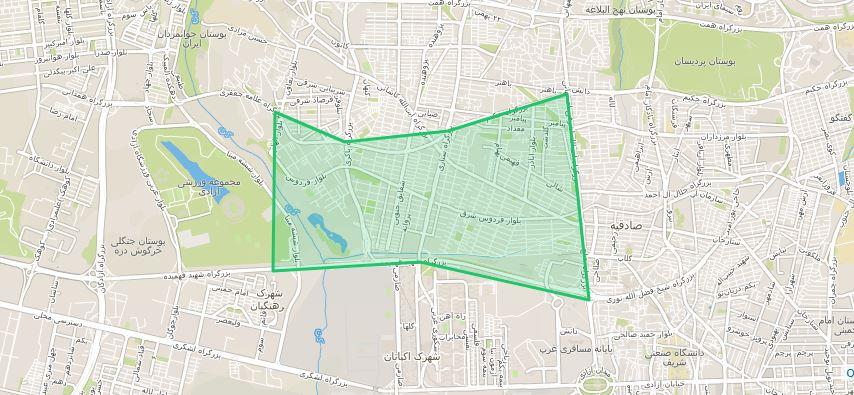 نقشه وانت بار فردوس تهران