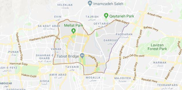 نقشه گوگل مپ باربری جردن تهران