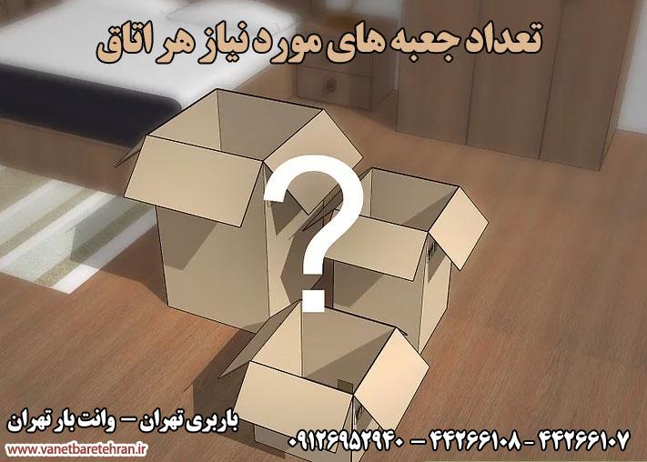 تعداد جعبه مورد نیاز برای هر اتاق